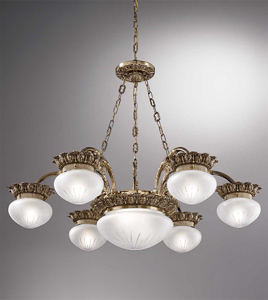 Brass pendant chandelier with engraved satin-finish glass Art. 730/6+2