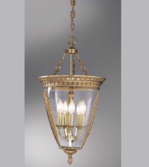 Lampadario a sospensione in ottone e vetro soffiato Art. 850/ 5S