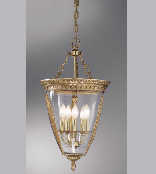 Brass and blown glass pendant chandelier Art. 850/ 5S