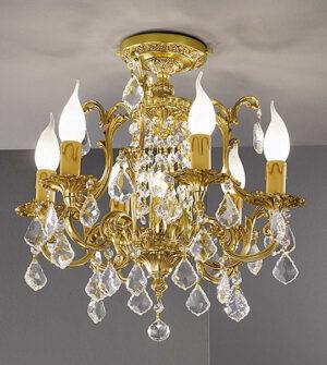 Plafoniera in ottone con cristalli Art. 855/6+1PL