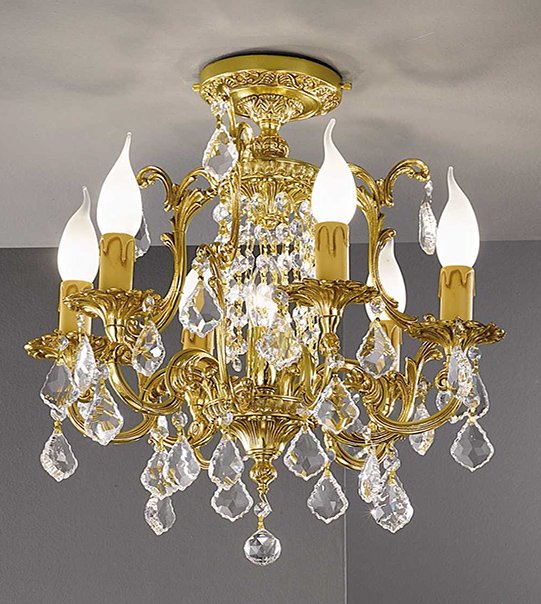 Brass ceiling light with crystals Art. 855 /6+1 PL