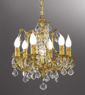 Hanging chandelier made of brass with crystals Art. 855 /6+1