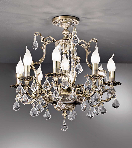 Brass ceiling light with crystals Art. 855 /8+1 PL