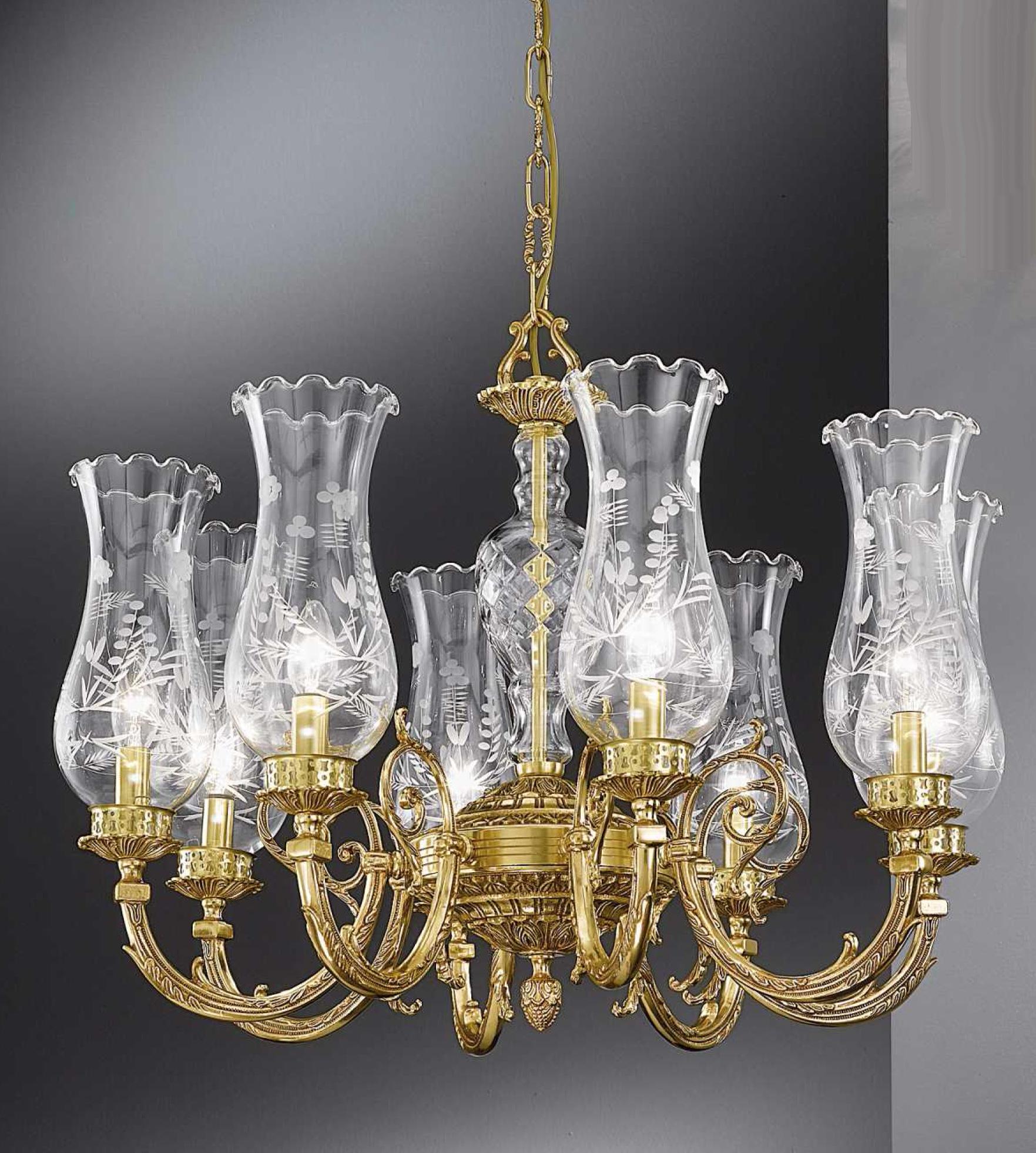 Lampadario a sospensione in ottone con paralumi in vetro e cristalli Art. 860/ 8
