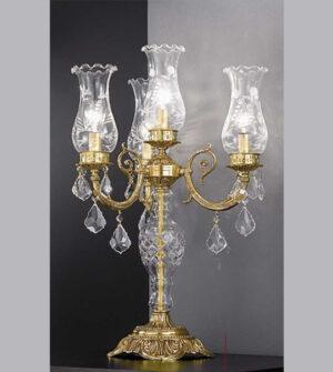 Lampada da tavolo a quattro luci in ottone con vetri e cristalli Art. 865/ 3+1C