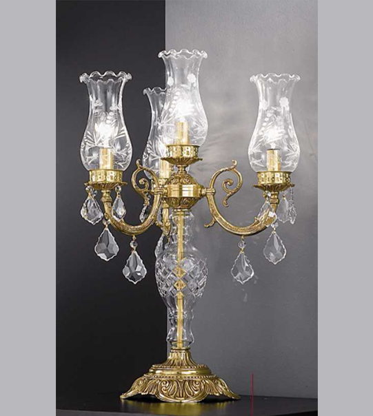 Brass table lamp with glass and crystals details and four lights Art. 865/ 3+1C