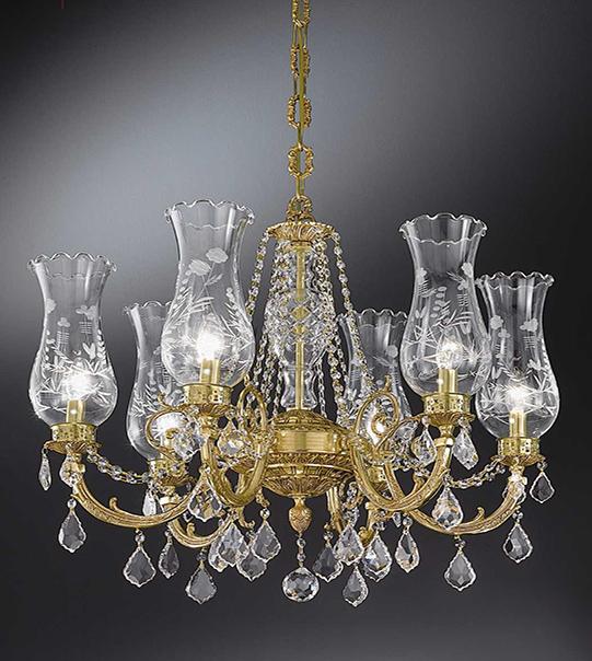 Lampadario a sospensione in ottone con paralumi in vetro e cristalli Art. 865/ 6