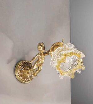 Applique in ottone e vetro ambrato Art. 2080/ 1A AM