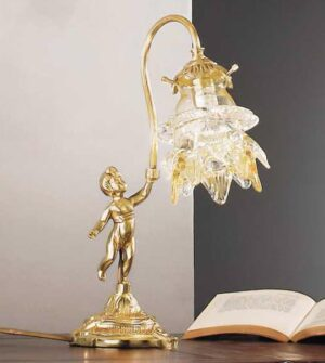 Single light table lamp in brass and amber glass Art. 2080/ 1L