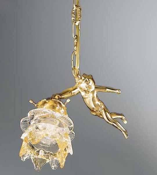 Lampadario a sospensione in ottone con vetro ambrato a fiore Art. 2080/1S / AM
