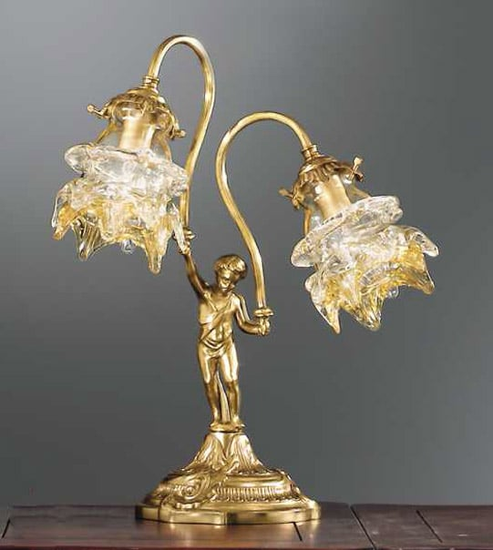 Brass table lamp with two lights and amber glass lampshades Art. 2080/ 2L