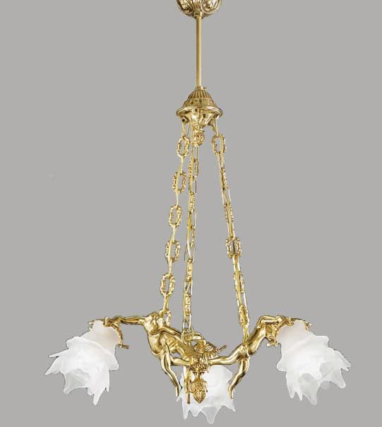 Lampadario a sospensione in ottone con vetro a fiore Art. 2080/3/ ST