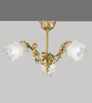 Plafoniera in ottone e vetro con dettaglio a angelo Art. 2080/3 PL / ST