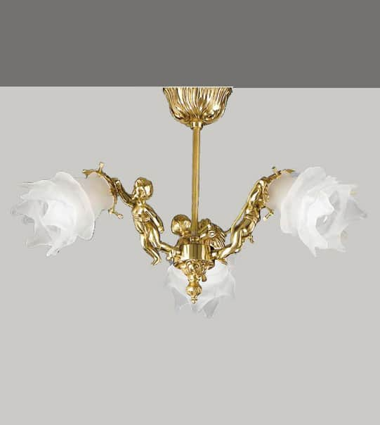 Brass and glass ceiling lamp with angel detail Art. 2080/3 PL
