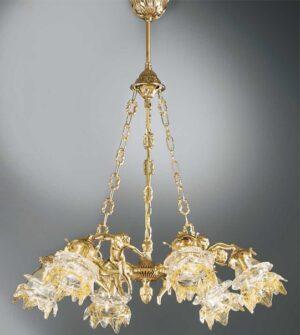 Lampadario a sospensione in ottone con vetro a fiore Art. 2080/6
