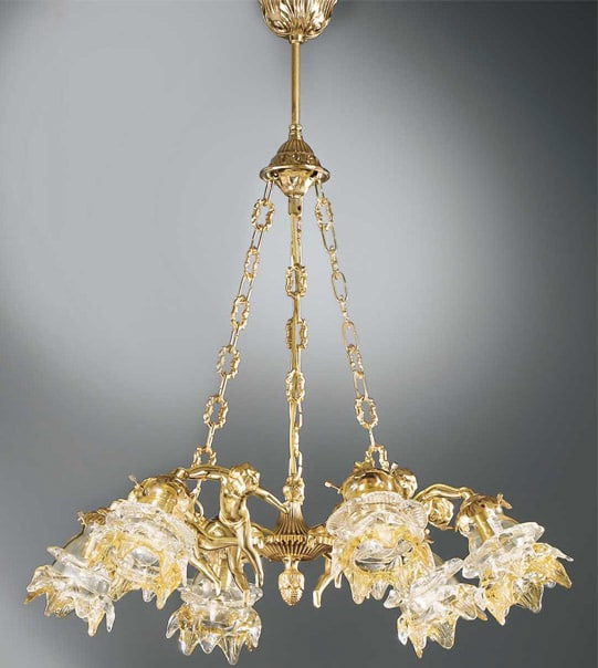 Brass pendant chandelier with flower-shaped glass lampshades Art. 2080/6