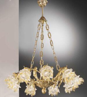 Lampadario a sospensione in ottone con vetro a fiore Art. 2080/9 / AM