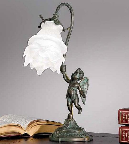Lampada da tavolo a una luce in ottone e vetro Art. 2081/ 1L