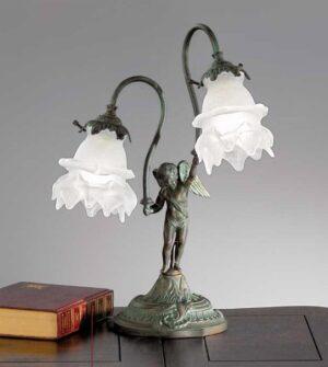 Lampada da tavolo a due luci in ottone e vetro Art. 2081/ 2L