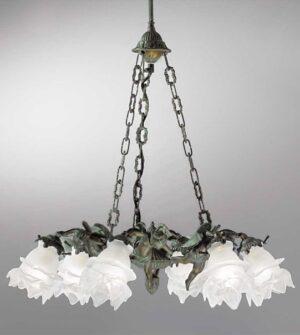 Lampadario a sospensione in ottone con vetro a fiore Art. 2081/6