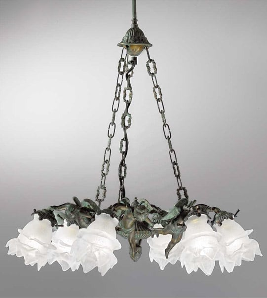 Brass hanging chandelier with satin-finish glass details Art. 2080/6