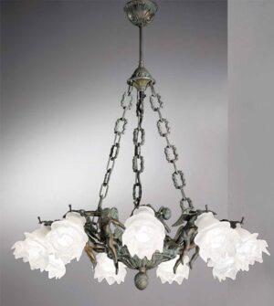 Lampadario a sospensione in ottone e vetro a fiore Art. 2081/9