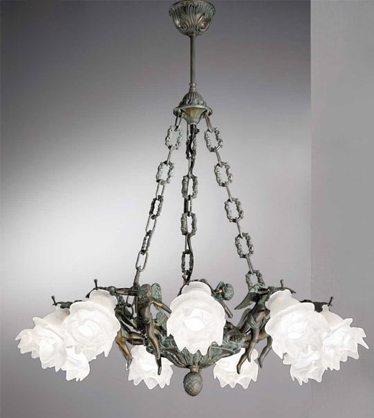 Brass hanging light with flower details Art. 2080/9