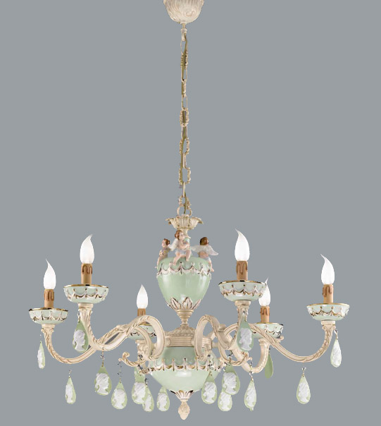 Pendant chandelier in brass and hand-painted ceramic Art. 930/6 CG