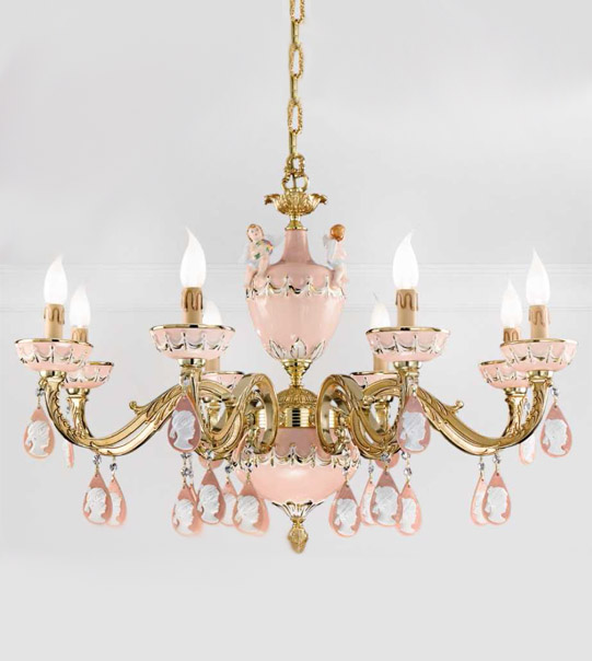 Hanging chandelier in brass and hand-painted ceramic Art. 930/8 CP