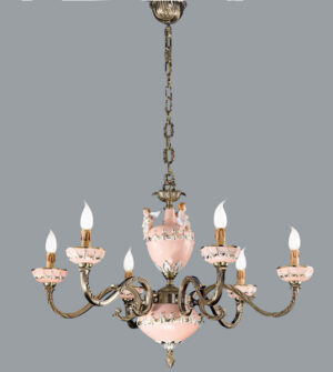 Hanging chandelier in brass and hand-painted ceramic Art. 935/6 CP