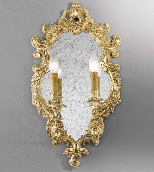Mirror with lights and a carved frame Art. M2
